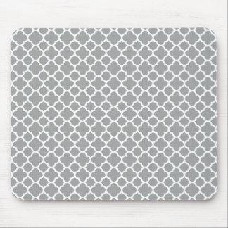 Tapis De Souris Quatrefoil gris et blanc