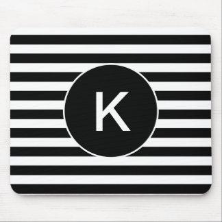 Tapis De Souris Rayé noir et blanc de monogramme