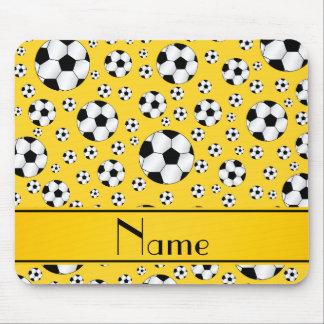 Tapis De Souris Rayure jaune d'amusement de ballons de football