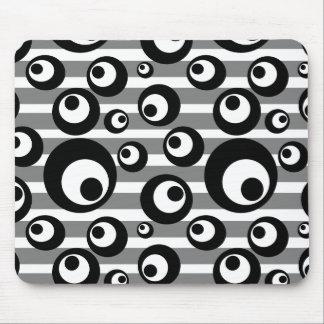 Tapis De Souris Rayures noires et blanches de cercles géométriques