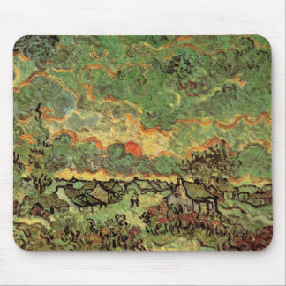 Tapis De Souris Réminiscence de cyprès de cottages de Van Gogh de