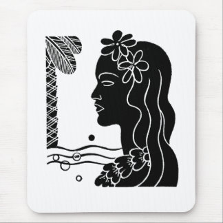 Tapis De Souris Rétro fille de danse polynésienne hawaïenne