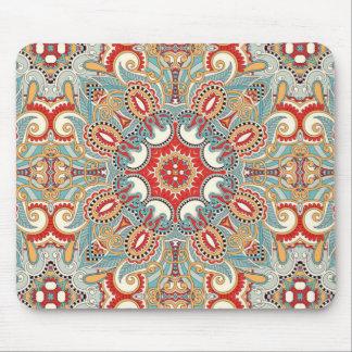 Tapis De Souris Rétro motif de mosaïque assez floral rouge chic de