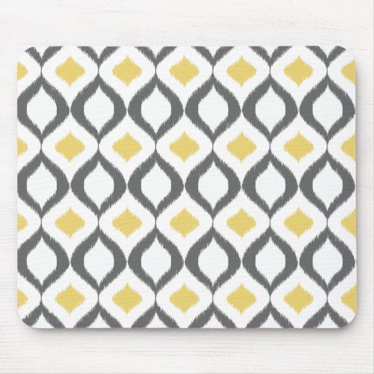 tapis de souris r tro motif gris jaune g om trique d 39 ikat. Black Bedroom Furniture Sets. Home Design Ideas