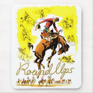 Tapis De Souris Rétro rassemblement vintage de cowboy de rodéo
