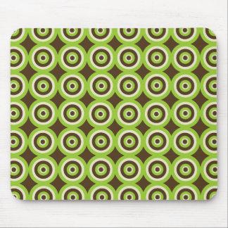 Tapis De Souris Rétro vert moderne et Brown Mousepad de cercles