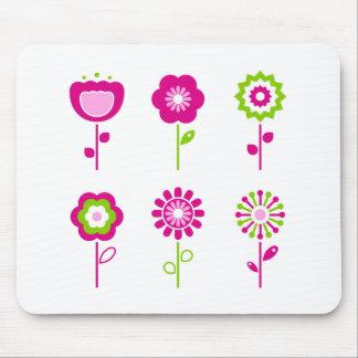 Tapis De Souris Rétros fleurs roses avec le vert