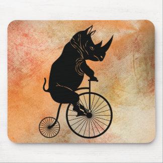Tapis De Souris Rhinocéros noir sur le vélo vintage