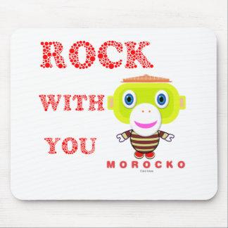 Tapis De Souris Roche avec le Singe-Morocko Vous-Mignon