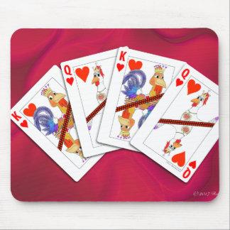 Tapis De Souris Roi de poulet et reine des cartes de jeu de coeurs
