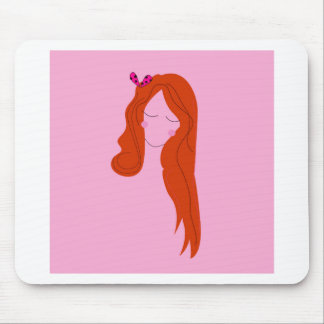 Tapis De Souris Rose de femme de mode avec de longs cheveux