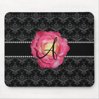 Tapis De Souris Rose noir de rose de damassé de monogramme