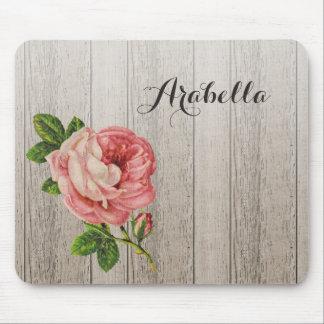 Tapis De Souris Rose vintage en bois patiné rustique de rose avec