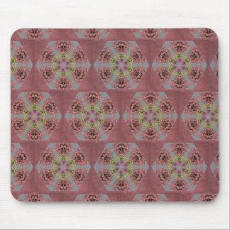 Tapis De Souris roses de motif de kaléidoscope, roses et jaunes