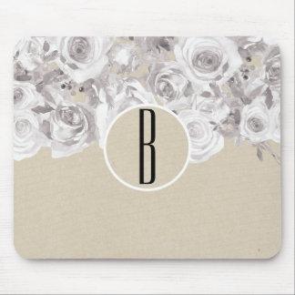 Tapis De Souris Roses d'hiver rustiques blancs Papier d'emballage