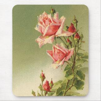 Tapis De Souris Roses roses vintages de jardin pour la