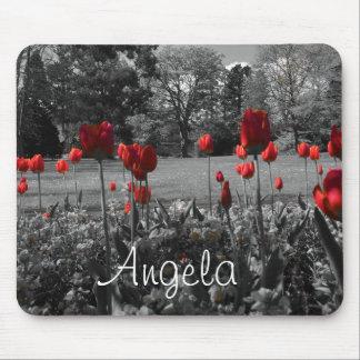 Tapis De Souris roses rouges dans la photographie noire et blanche