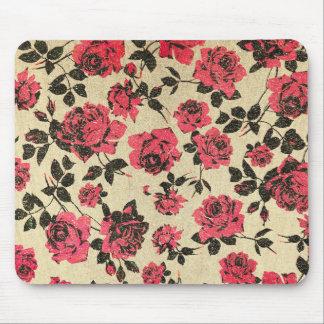 Tapis De Souris Roses rustiques rouges sur l'or de Faux
