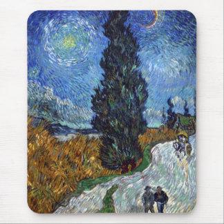 Tapis De Souris Route de campagne de Van Gogh en Provence par nuit