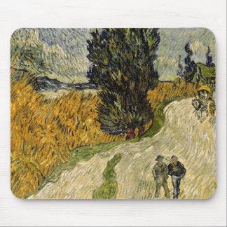 Tapis De Souris Route de Vincent van Gogh | avec des cyprès, 1890