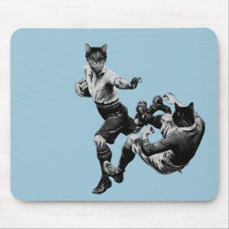 Tapis De Souris rugby vintage drôle jouant des chats
