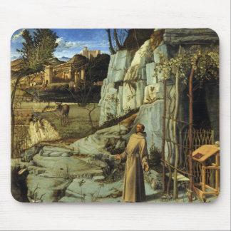 Tapis De Souris Saint Francis dans le désert par Giovanni Bellini
