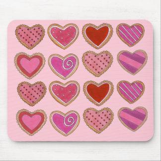 Tapis De Souris Saint-Valentin d'amour de biscuits de coeur givrée