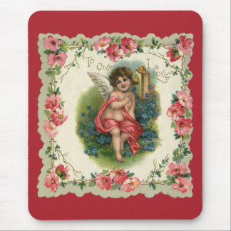 Tapis De Souris Saint-Valentin victorienne vintage, ange au