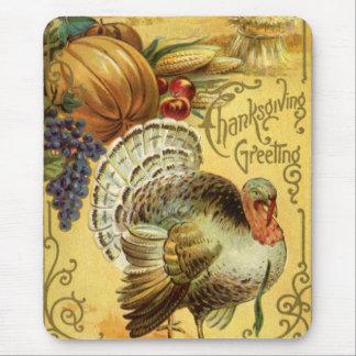 Tapis De Souris Salutation vintage de thanksgiving avec la Turquie