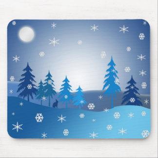 Tapis De Souris Scène bleue d'hiver de Noël