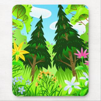 Tapis De Souris Scène d'arbres forestiers et de fleurs de ressort