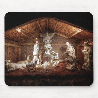Tapis De Souris Scène de Manger de nativité de Jésus d'avènement