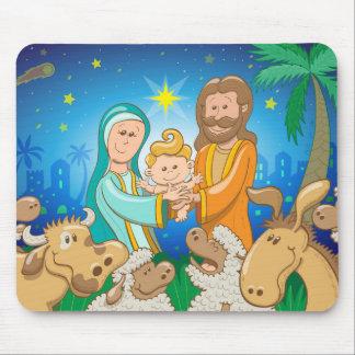 Tapis De Souris Scène douce de la nativité du bébé Jésus