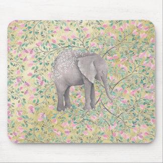 Tapis De Souris Scintillement d'or de fleurs d'éléphant