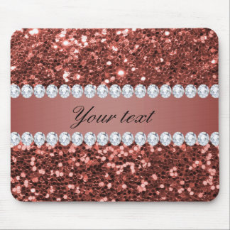 Tapis De Souris Scintillement rose et diamants de Faux d'or