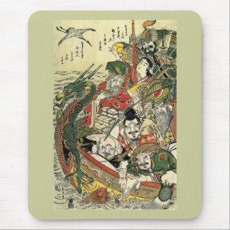 Tapis De Souris Sept dieux de beaux-arts de Hokusai de bonne