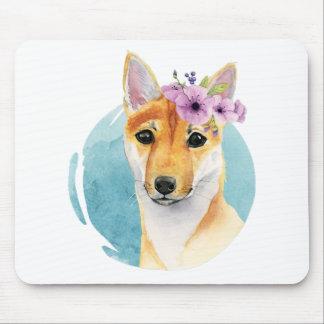 Tapis De Souris Shiba Inu avec la peinture d'aquarelle de couronne