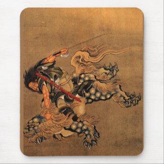 Tapis De Souris Shoki montant un lion de Shishi