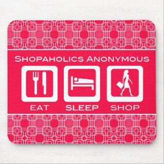 Tapis De Souris Shopaholic drôle rose mangent la récompense de
