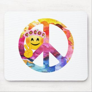 Tapis De Souris Signe de paix, art hippie d'aquarelle d'émoticône