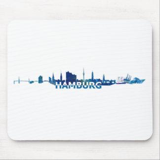 Tapis De Souris Silhouette d'horizon de Hambourg