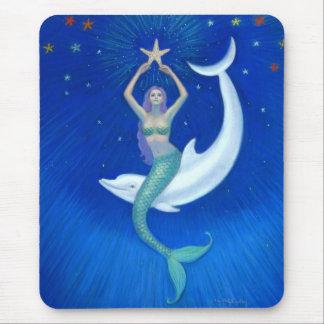 Tapis De Souris Sirène de lune de dauphin