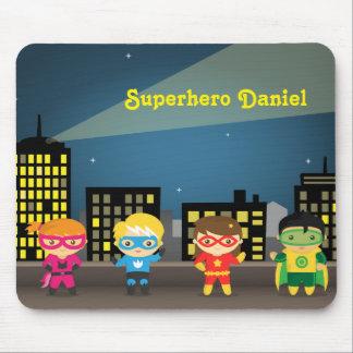 Tapis De Souris Super héros mignon d'horizon pour des enfants