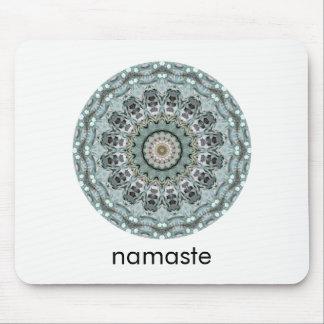 Tapis De Souris Teal et art rond gris Namaste de mandala