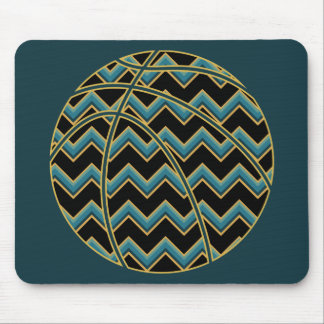 Tapis De Souris Teal et basket-ball de Chevron d'or