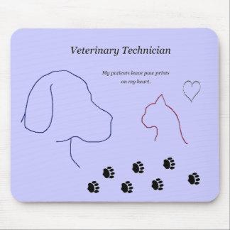 Tapis De Souris Technicien vétérinaire - empreintes de pattes sur