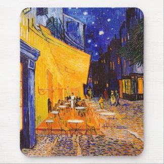 Tapis De Souris Terrasse de café de Vincent van Gogh la nuit