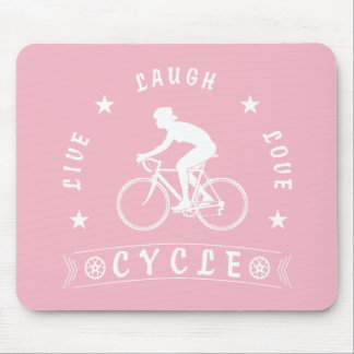 Tapis De Souris Texte de Live Laugh Love Cycle de Madame (blanc)