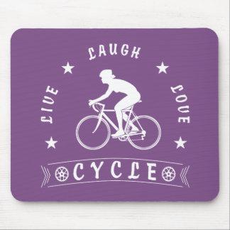 Tapis De Souris Texte de Live Laugh Love Cycle de Madame (blanc)