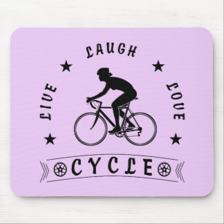 Tapis De Souris Texte de Live Laugh Love Cycle de Madame (noir)